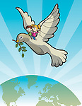 Illustration of kids on dove over earth representing future generation