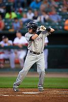 Wisconsin Timber Rattlers first baseman Alan Sharkey (18) at bat during a game against the Peoria Chiefs on August 21, 2015 at Dozer Park in Peoria, Illinois.  Wisconsin defeated Peoria 2-1.  (Mike Janes/Four Seam Images)