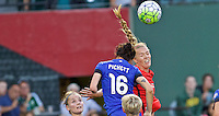 Portland, OR - Saturday July 30, 2016: Carson Pickett, Dagny Brynjarsdottir during a regular season National Women's Soccer League (NWSL) match between the Portland Thorns FC and Seattle Reign FC at Providence Park.