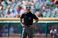 Third base umpire Roberto Ortiz during the game between the Salt Lake Bees and the Albuquerque Isotopes at Smith's Ballpark on April 22, 2018 in Salt Lake City, Utah. The Bees defeated the Isotopes 11-9. (Stephen Smith/Four Seam Images)