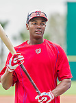 7 March 2015: Washington Nationals outfielder Michael Taylor awaits his turn in the batting cage prior to a Spring Training game against the St. Louis Cardinals at Space Coast Stadium in Viera, Florida. The Nationals rallied to defeat the Cardinals 6-5 in Grapefruit League play. Mandatory Credit: Ed Wolfstein Photo *** RAW (NEF) Image File Available ***