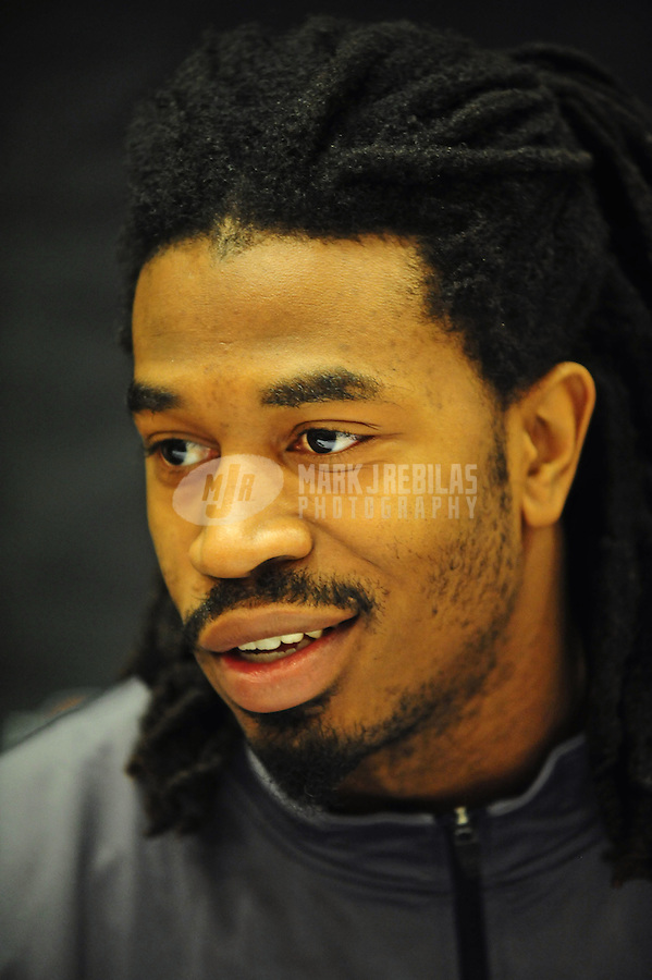 Jan. 5, 2011; Scottsdale, AZ, USA; Auburn Tigers wide receiver Darvin Adams speaks during a press conference at the JW Marriott for the 2011 BCS National Championship game against the Oregon Ducks to be played on January 10, 2011. Mandatory Credit: Mark J. Rebilas-