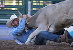 Richard Coats competes in the Steer Wrestling event during the Reno Rodeo on Sunday, June 23, 2019.