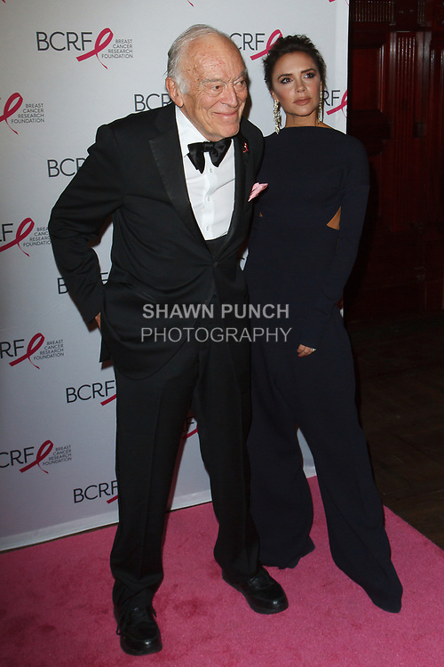 "Leonard Lauder and Victoria Beckham attend The Breast Cancer Research Foundation ""Super Nova"" Hot Pink Party on May 12, 2017 at the Park Avenue Armory in New York City."