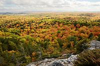 The beautiful scenery of the autumn season seen from Hogback Mountain, Marquette, MI