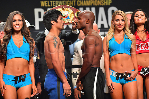 08.04.2016. Las Vegas, Nevada, USA.  Manny Pacquiao (L, Sarangani Province, Philippines) and Timothy Bradley (Palm Springs, Calif., USA) face off during the official pre-fight weigh in at the MGM Grand Garden Arena at the MGM Grand Hotel and Casino in Las Vegas, Nevada. Manny Pacquiao (Sarangani Province, Philippines) and Timothy Bradley (Palm Springs, Calif., USA) will face off for the WBO Welterweight International Title on Saturday, April 9, 2016 at the MGM Grand Garden Arena in Las Vegas, Nevada, USA.