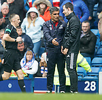 Helder Baptista asks questions of the fourth official at half time