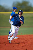 Southern Maine Huskies left fielder Nick DiBiase (11) during a game against the St. Scholastica Saints on March 20, 2016 at Lake Myrtle Park in Auburndale, Florida.  Southern Maine defeated St. Scholastica 5-3.  (Mike Janes/Four Seam Images)