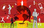 Illustrative representation showing global communication