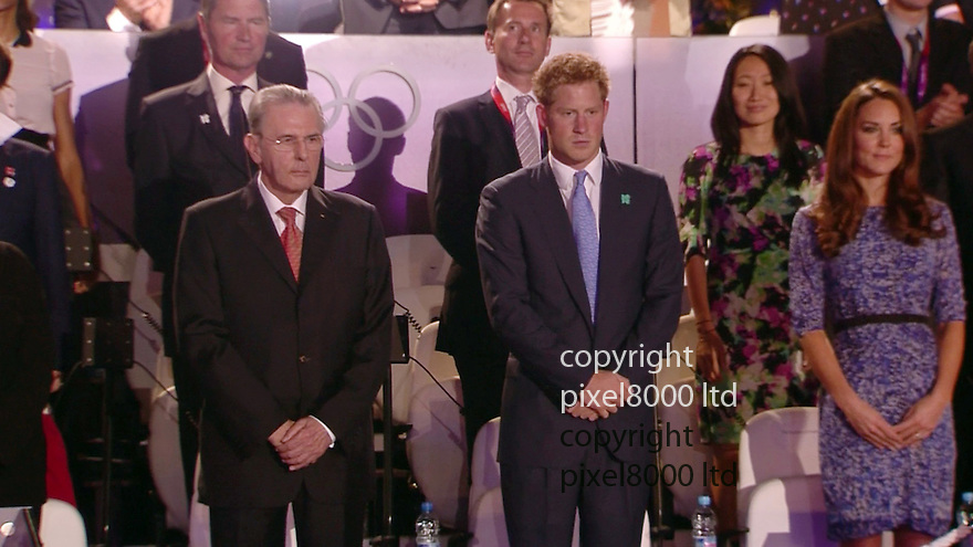 Olympics 2012 - BBC Coverage.Closing ceremony.Prince Harry with Jacques Rogge and Kate Middleton.....Picture by Pixel8000 07917221968