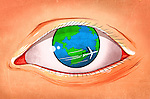 Illustrative image of airplane rotating around eyeball representing world tour