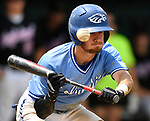 Columbia's Stephen Redinger bunts late in the game. Columbia defeated Highland in the Class 3A Baseball Regional Championship game on  Saturday May 26, 2018. Tim Vizer | Special to STLhighschoolsports.com