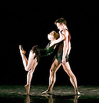 English National Ballet. 2 Human choregraphed by Wayne McGregor. Thomas Edur and Agnes Oaks.