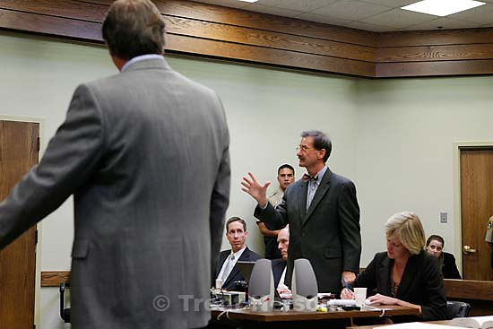 The Warren Jeffs' trial in St. George, Utah. Jeffs, head of the Fundamentalist Church of Jesus Christ of Latter Day Saints, is charged with two counts of rape as an accomplice for allegedly coercing the marriage and rape of a 14-year-old follower to her 19-year-old cousin in 2001.. Utah Assistant Attorney General Craig Barlow. defense attorney Richard Wright. defense attorney tara isaacson, defense attorney walter bugden