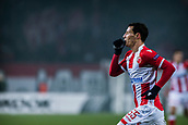 7th December 2017, Rajko Mitic Stadium, Belgrade, Serbia, UEFA Europa League football, Red Star Belgrade versus FC Cologne; Midfielder Slavoljub Srnic of Red Star Belgrade celebrates his goal for 1-0