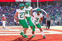 STANFORD, CA - SEPTEMBER 21: Johnny Johnson III #3 and Bryan Addison #80 of the Oregon Ducks celebrate after a touchdown reception by Jacob Breeland #27 during a game between University of Oregon and Stanford Football at Stanford Stadium on September 21, 2019 in Stanford, California.