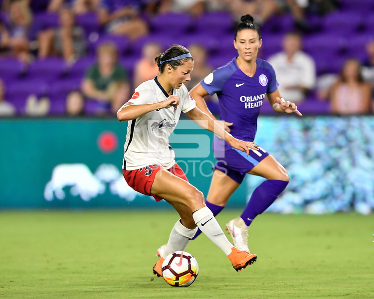 Orlando, FL - Saturday July 07, 2018: Ashley Hatch, Ali Krieger during the second half of a regular season National Women's Soccer League (NWSL) match between the Orlando Pride and the Washington Spirit at Orlando City Stadium. Orlando defeated Washington 2-1.