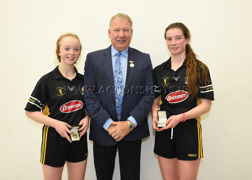 15/10/2017; All-Ireland Handball 60x30 Juvenile Finals; Garryhill Handball Club, Co Carlow;<br /> Girls Under 16 Doubles, Kilkennys Noelle Dowling and Roisin O&rsquo;Keeffe vs Caitlin Conway and Elizabeth McGarvey of Tyrone.<br /> GAA Handball President Joe Masterson with runners up Noelle Dowling and Roisin O'Keeffe of Kilkenny.<br /> Photo Credit: actionshots.ie/Tommy Grealy