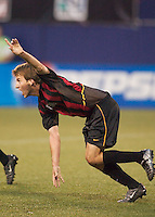 Mike Magee of the MetroStars celebrates scoring a goal in the 36th minute to tie the score at two. The San Jose Earthquakes and the the NY/NJ MetroStars played to a 4-4 tie on 7/02/03 at Giant's Stadium, NJ..