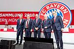 30.11.2018, Audi Dome, Muenchen, GER, FC Bayern Jahreshauptversammlung 2018, im Bild Jan Christian Dreesen (Stellv. Vorstandsvorsitzender FCB)  Uli Hoeness (Praesident FCB) Karl-Heinz Rummenigge (Vorstandsvorsitzender FCB) Walter Mennekes (Vizepraesident FCB) Prof. Dr. Dieter Mayer (Vizepraesident FCB)<br /> <br /> Foto &copy; nordphoto / Straubmeier