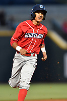 Second baseman Daniel Brito (21) of the Lakewood BlueClaws rounds second base in a game against the Columbia Fireflies on Friday, May 5, 2017, at Spirit Communications Park in Columbia, South Carolina. Lakewood won, 12-2. (Tom Priddy/Four Seam Images)