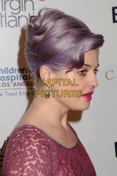"Kelly Osbourne.BritWeek 2012 Gala ""An Evening With Piers Morgan"" held at The Beverly Wilshire Hotel, Beverly Hills, California, USA, 4th May 2012..portrait headshot lilac purple dyed hair up pale skin beauty make-up pink side profile lipstick lace .CAP/ADM/BP.©Byron Purvis/AdMedia/Capital Pictures."
