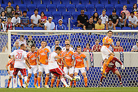 Juan Pablo Angel (9) of the New York Red Bulls takes a direct free kick during a Major League Soccer (MLS) match against the Houston Dynamo at Red Bull Arena in Harrison, NJ, on June 2, 2010.
