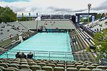 12.06.2019, Tennisclub Weissenhof e. V., Stuttgart, GER, Mercedes Cup 2019, ATP 250, <br /> <br /> im Bild Center Court mit Plane abgedeckt, Regen sorgt für Spielverzögerung<br /> <br /> Foto © nordphoto/Mauelshagen