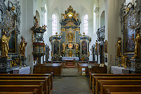 Austria, Upper Austria, Salzkammergut, Attersee at lake Attersee: baroque parish and pilgrimage church Mary Ascension, interior | Oesterreich, Salzkammergut, Attersee am Attersee: barocke Pfarr- und Wallfahrtskirche Maria Himmelfahrt auf dem Kirchenberg, innen