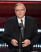 Sheriff Joe Arpaio makes remarks at the 2016 Republican National Convention held at the Quicken Loans Arena in Cleveland, Ohio on Thursday, July 21, 2016.<br /> Credit: Ron Sachs / CNP<br /> (RESTRICTION: NO New York or New Jersey Newspapers or newspapers within a 75 mile radius of New York City)