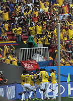 BRASILIA - BRASIL -19-06-2014. Jugadores de Colombia (COL) celebran un gol anotado a Costa de Marfil (CIV) durante partido del Grupo C de la Copa Mundial de la FIFA Brasil 2014 jugado en el estadio Mané Garricha de Brasilia./ Players of Colombia (COL) celebrate a goal scored to Ivory Coast (CIV) during the macth of the Group C of the 2014 FIFA World Cup Brazil played at Mane Garricha stadium in Brasilia. Photo: VizzorImage / Alfredo Gutiérrez / Contribuidor