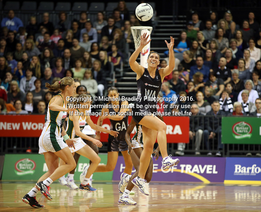 31.08.2016 Silver Ferns Grace Rasmussen in action during the Netball Quad Series match between the Silver Ferns and South Africa played at Claudelands Arena in Hamilton. Mandatory Photo Credit ©Michael Bradley.