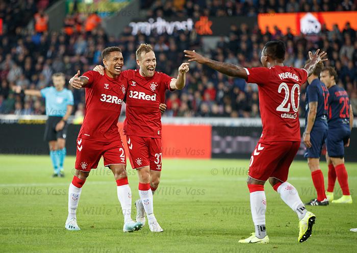 08.08.2019 FC Midtjylland v Rangers: Scott Arfield celebrates no 4 for Rangers with James Tavernier and Alfredo Morelos