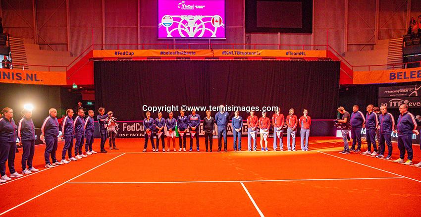 Den Bosch, The Netherlands, Februari 9, 2019,  Maaspoort , FedCup  Netherlands - Canada, Presentation<br /> Photo: Tennisimages/Henk Koster