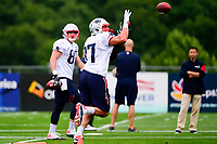 July 27, 2017: New England Patriots tight end Rob Gronkowski (87) makes a catch at the New England Patriots training camp held on the practice field at Gillette Stadium, in Foxborough, Massachusetts. Eric Canha/CSM