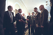 United States President George W. Bush talks with the Chiefs of Staff of the Armed Forces after a meeting in the Cabinet Room of the White House in Washington, D.C. on Wednesday, October 24 2001. Pictured, from left to right, are Deputy Secretary of Defense Paul Wolfowitz, U.S. Navy Admiral Richard Mies, U.S. Army General Eric Shinseki, U.S. Marine General Peter Pace and U.S. Air Force General Michael Williams..Mandatory Credit: Eric Draper - White House via CNP.