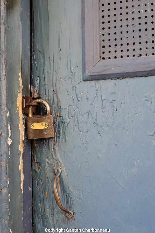 Door padlock securing old door