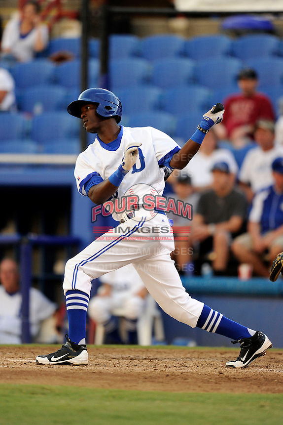 Dunedin Blue Jays third baseman Gustavo Pierre (25) during a game against the Fort Myers Miracle on July 20, 2013 at Florida Auto Exchange Stadium in Dunedin, Florida.  Fort Myers defeated Dunedin 3-1.  (Mike Janes/Four Seam Images)