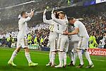 Players celebrate goal during UEFA Champions League match between Real Madrid and Paris Saint-Germain FC at Santiago Bernabeu Stadium in Madrid, Spain. November 26, 2019. (ALTERPHOTOS/A. Perez Meca)