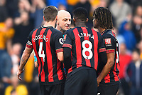 Dan Gosling,Jefferson Lerma and Nathan Ake of AFC Bournemouth appeal to Referee Roger East  after a penalty is given to Wolverhampton Wanderers during AFC Bournemouth vs Wolverhampton Wanderers, Premier League Football at the Vitality Stadium on 23rd February 2019
