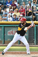 Ian Stewart (4) of the Salt Lake Bees at bat against the Fresno Grizzlies at Smith's Ballpark on May 25, 2014 in Salt Lake City, Utah.  Stewart, from the Los Angeles Angels of Anaheim was in the lineup for a rehab stint with the Bees.  (Stephen Smith/Four Seam Images)