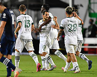 LAKE BUENA VISTA, FL - AUGUST 01: Sebastián Blanco #10 of the Portland Timbers celebrates his goal with teammates during a game between Portland Timbers and New York City FC at ESPN Wide World of Sports on August 01, 2020 in Lake Buena Vista, Florida.