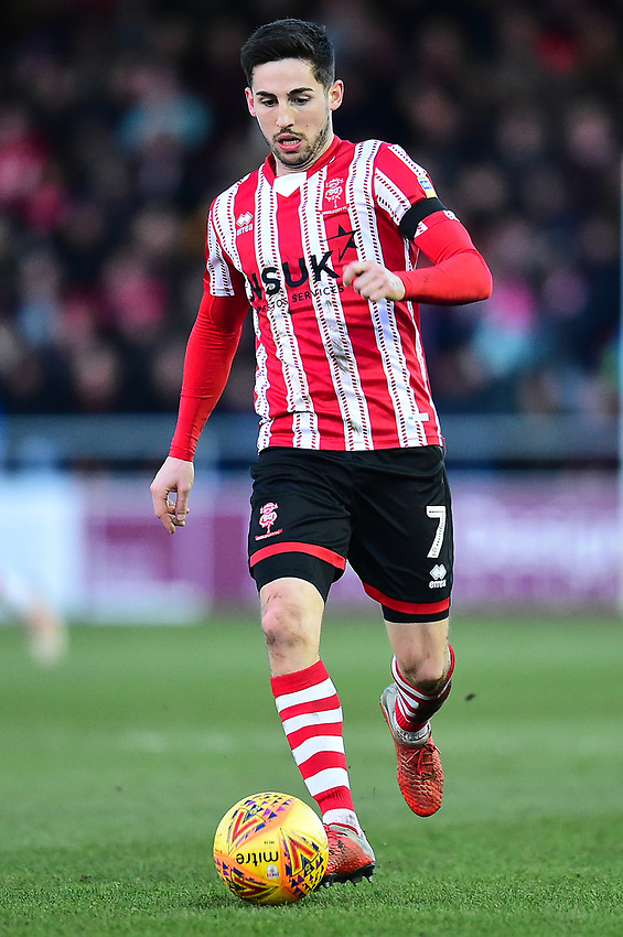 Lincoln City's Tom Pett<br /> <br /> Photographer Andrew Vaughan/CameraSport<br /> <br /> The EFL Sky Bet League Two - Lincoln City v Northampton Town - Saturday 9th February 2019 - Sincil Bank - Lincoln<br /> <br /> World Copyright © 2019 CameraSport. All rights reserved. 43 Linden Ave. Countesthorpe. Leicester. England. LE8 5PG - Tel: +44 (0) 116 277 4147 - admin@camerasport.com - www.camerasport.com