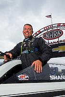 Aug 31, 2014; Clermont, IN, USA; NHRA pro stock driver Shane Gray during qualifying for the US Nationals at Lucas Oil Raceway. Mandatory Credit: Mark J. Rebilas-USA TODAY Sports