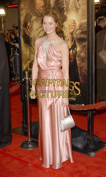MIRANDA OTTO.The Lord of The Rings:The Return of The King L.A. Premiere held at The Mann Village Theatre.                  03/12/2003.full length, full-length, peach satin dress, handbag.www.capitalpictures.com.sales@capitalpictures.com.©Capital Pictures.