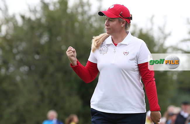 Brittany Lincicome (USA) holes out on the 9th during Saturday morning's Foursomes, at The Solheim Cup 2015 played at Golf Club St. Leon-Rot, Mannheim, Germany.  19/09/2015. Picture: Golffile | David Lloyd<br /> <br /> All photos usage must carry mandatory copyright credit (&copy; Golffile | David Lloyd)