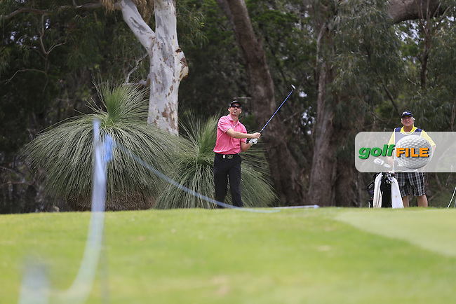 Jason Norris (AUS) on the 18th tee during Round 3 of the ISPS HANDA Perth International at the Lake Karrinyup Country Club on Saturday 25th October 2014.<br /> Picture:  Thos Caffrey / www.golffile.ie