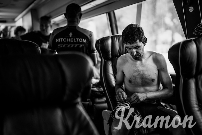 Mikel Nieve (ESP/Mitchelton-Scott) back in the teambus after finishing<br /> <br /> Stage 7: Onda to Mas de la Costa (183km)<br /> La Vuelta 2019<br /> <br /> ©kramon