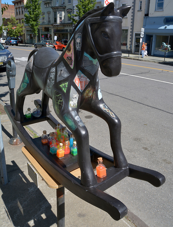 """A view of """"Science Horse"""" created by artist, Shanti Payne, one of the """"Rockin' Around Saugerties"""" theme Statues on display throughout the Village of Saugerties, NY, on Sunday, June 4, 2017. Photo by Jim Peppler. Copyright/Jim Peppler-2017."""