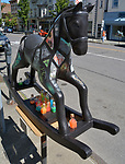"A view of ""Science Horse"" created by artist, Shanti Payne, one of the ""Rockin' Around Saugerties"" theme Statues on display throughout the Village of Saugerties, NY, on Sunday, June 4, 2017. Photo by Jim Peppler. Copyright/Jim Peppler-2017."